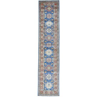 Hand-Knotted Navy Blue Super Kazak Runner Oriental Rug (2'8x12'1)