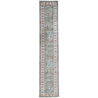 Hand-Knotted Green Super Kazak Runner Tribal Design Rug (2'6x12'8)