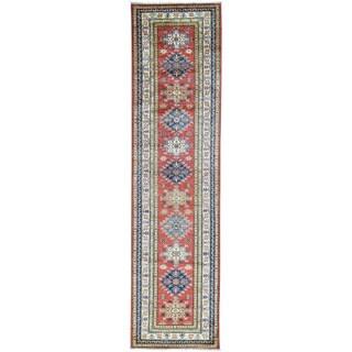 Hand-Knotted Red Super Kazak Runner Geometric Design Rug (2'6x9'10)