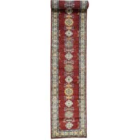 Hand-Knotted Red Super Kazak Runner Tribal Design Rug (2'8x19')