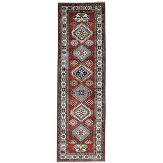 Hand-Knotted Red Super Kazak Runner Tribal Design Rug (2'8x8'8)