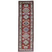 Hand-Knotted Red Super Kazak Runner Tribal Design Rug (2'8x8'8)