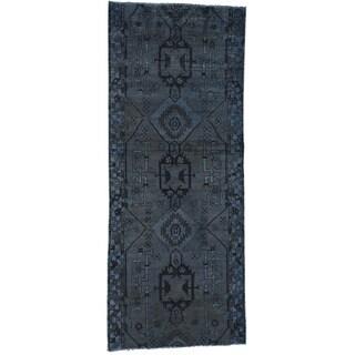 Hand-Knotted Overdyed Persian Hamadan Runner Rug (3'6x8'9)
