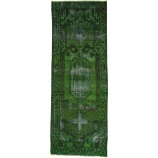 Hand-Knotted Green Overdyed Persian Hamadan Runner Rug (3'7x9'10)