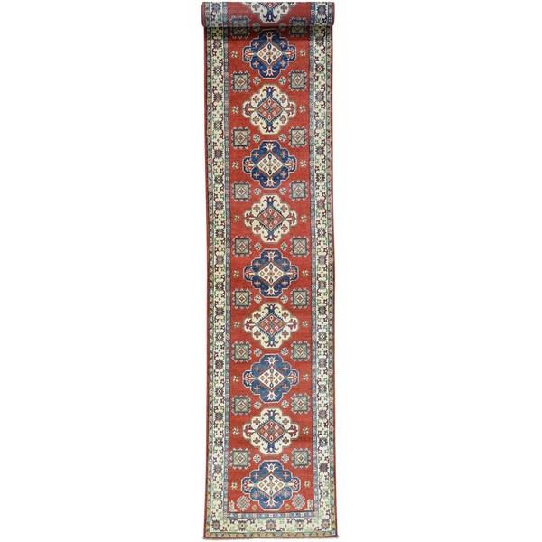 Hand-Knotted Runner Kazak Tribal Design Oriental Carpet (2'6x15')