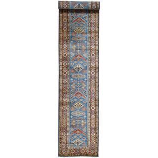 Hand-Knotted Runner Super Kazak Tribal Design Carpet (2'9x17'6)