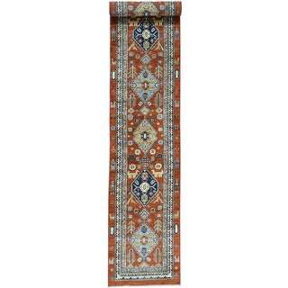 Hand-Knotted Antiqued Serab Wool Runner Oriental Carpet (2'7x16')