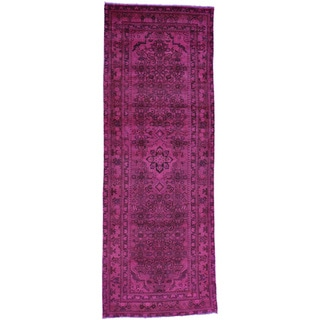 Hand-Knotted Overdyed Persian Hussainabad Runner Rug (3'6x9'10)