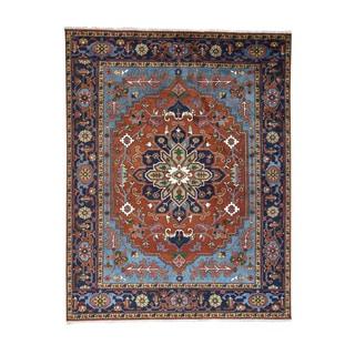 Hand-Knotted Oriental Serapi Heriz Wool Carpet (7'9x10')