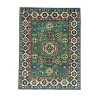 Hand-Knotted Wool Kazak Geometric Design Oriental Carpet - 4'10x6'7