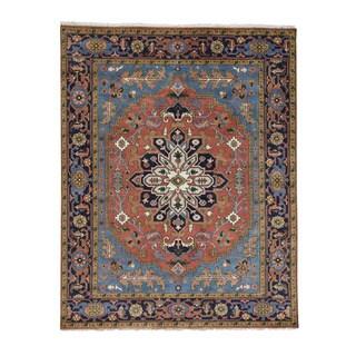 Hand-Knotted Serapi Heriz Wool Oriental Carpet (7'10x10')