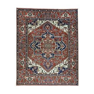 Hand-Knotted Wool Serapi Heriz Oriental Rug (7'10x9'8)