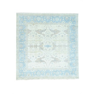 Hand-Knotted Washed Out square Oushak Wool Rug (11'9x12'3)