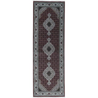 Hand-Knotted wool/ silk Tabriz Mahi Runner Rug (4'1x12'2)