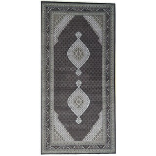 Hand-Knotted wool/ silk Tabriz Mahi Gallery Size Rug (9'x18'1)
