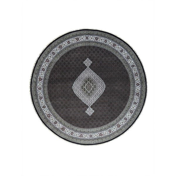 Hand-Knotted wool/ silk Tabriz Mahi Round Rug (11'9x11'9)