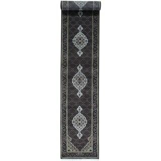 Hand-Knotted wool/ silk Tabriz Mahi Runner Carpet (2'8x16'2)