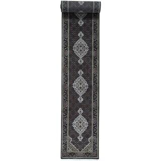 Hand-Knotted Runner wool/ silk Tabriz Mahi Carpet (2'7x20')