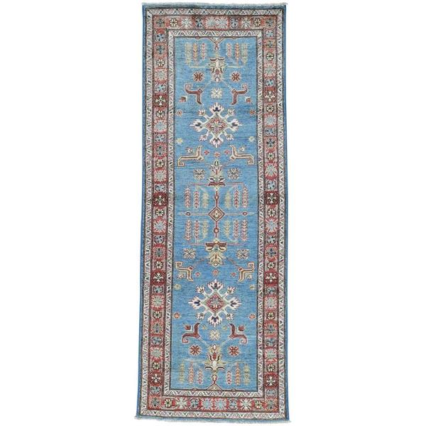 Hand-Knotted Sky Blue Super Kazak Runner Oriental Rug (2'9x7'10)