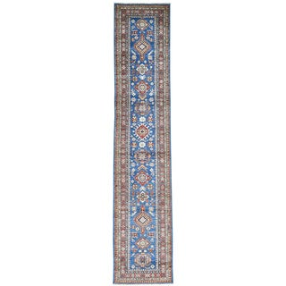 Hand-Knotted Tribal Design Super Kazak Runner Oriental Rug (2'8x13')