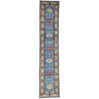 Hand-Knotted Geometric Design Super Kazak Runner Rug (2'7x12'9)