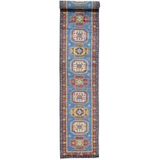Hand-Knotted Super Kazak Runner Wool Oriental Rug (2'10x19'2)