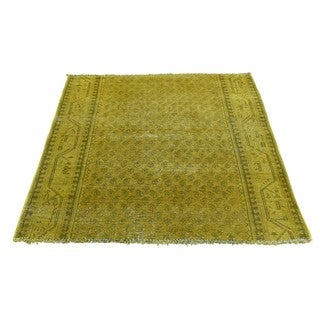 Hand-Knotted Square Persian Sarouk Mir Overdyed Rug (3'4x3'9)