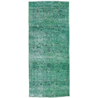 Hand-Knotted Overdyed Persian Tabriz Runner Oriental Rug (3'3x7'7)