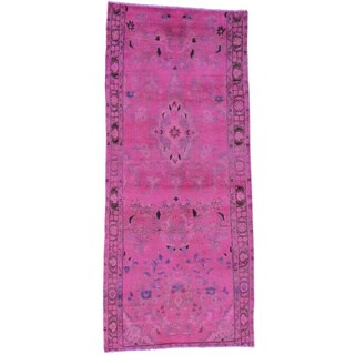 Hand-Knotted Overdyed Persian Lilahan Runner Oriental Rug (3'2x7'5)