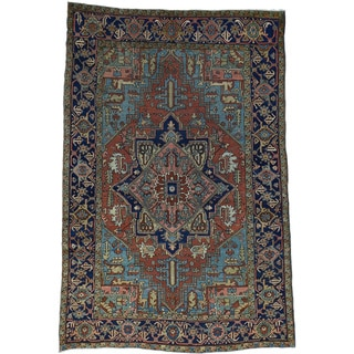 Hand-Knotted Antique Persian Heriz Good Cond Oriental Rug (6'8x9'9)