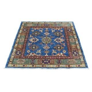 Hand-Knotted Super Kazak Tribal Design Square Oriental Rug (3'2x3'3)