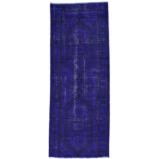 Hand-Knotted Overdyed Persian Hamadan Runner Oriental Rug (3'4x8'7)