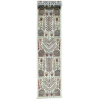 Hand-Knotted Runner Willow and Cypress Tree Design Rug (2'8x17'10)