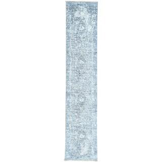 Hand-Knotted Persian Design Runner wool/ silk Oriental Rug (2'5x12')
