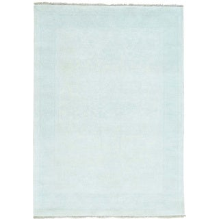 Hand-Knotted White Wash Oushak Wool Oriental Rug (4'10x6'10)