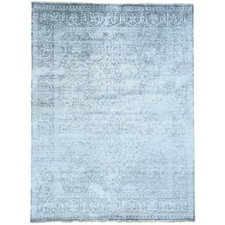 Hand-Knotted Bamboo Silk Broken Persian Design Rug (8'10x11'10)