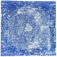 Hand-Knotted Broken Design wool/ silk Square Rug (11'10x11'10)