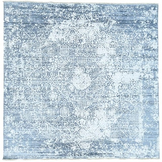 Hand-Knotted Persian Design Square wool/ silk Oriental Rug (9'9x9'9)