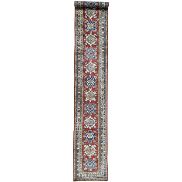 Hand-Knotted Tribal Design Super Kazak Runner Oriental Rug (2'7x19')