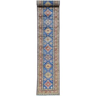 Hand-Knotted Wool Runner Super Kazak Oriental Rug (2'7x19')