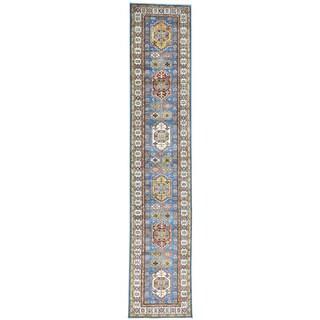 Hand-Knotted Super Kazak Runner Wool Oriental Rug (2'7x13'1)