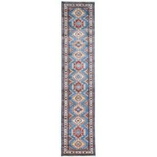 Hand-Knotted Wool Super Kazak Runner Oriental Rug (2'9x12'10)