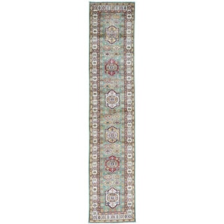 Hand-Knotted Super Kazak Runner Geometric Design Rug (2'8x13')