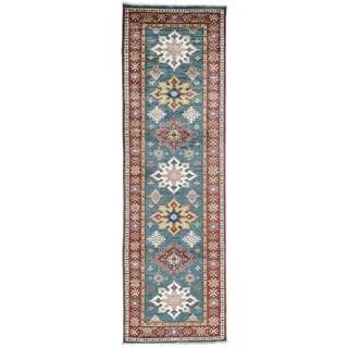 Hand-Knotted Super Kazak Tribal Design Runner Oriental Rug (2'7x8'5)