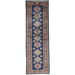 Hand-Knotted Navy Blue Super Kazak Runner Oriental Rug (2'7x8'1)