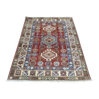Hand-Knotted Wool Super Kazak Tribal Design Oriental Rug (2'9x4'6)