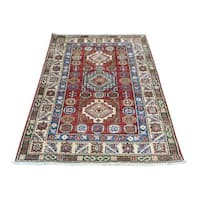 Hand-Knotted Wool Super Kazak Tribal Design Oriental Rug (2'9x4'6)