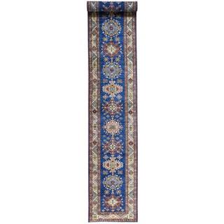 Hand-Knotted Wool Super Kazak Runner Oriental Rug (2'9x19'10)