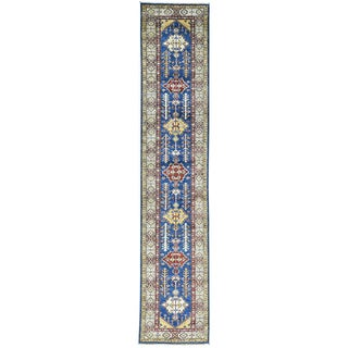 Hand-Knotted Super Kazak Runner Tribal Design Rug (2'7x12'10)