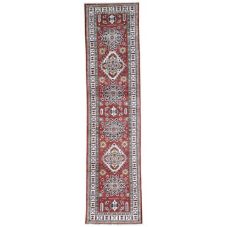 Hand-Knotted Tribal Design Super Kazak Runner Rug (2'8x10'10)